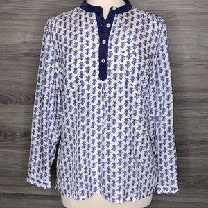 Tommy Bahama 100% Silk Long Sleeve Blouse M NWT